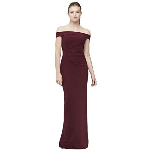 David's Bridal Off-The-Shoulder Stretch Crepe Ruched Bridesmaid Dress Style AP2E205054, Cabernet, 26