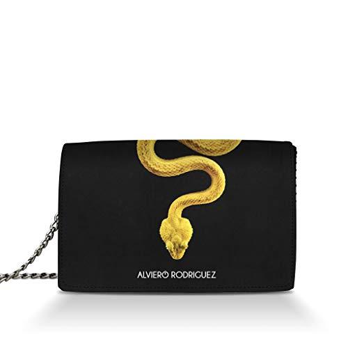 Alviero Rodriguez Borsa Donna Veleno Poison Serpente Giallo in Vera Pelle (Catena Argento)