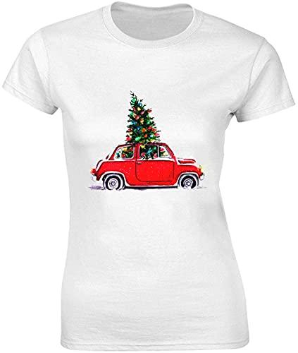 T-shirt pour femme Motif sapin de Noël dans une voiture rouge - Blanc - Small