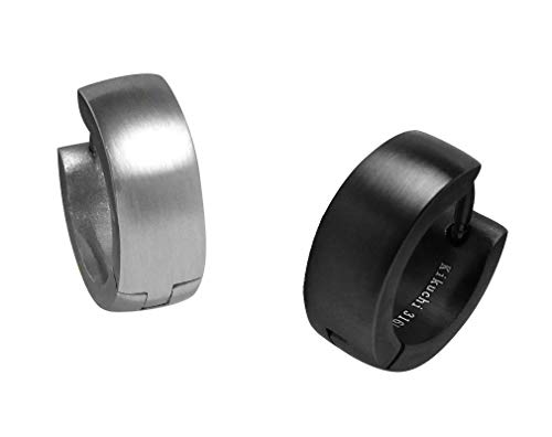 Kikuchi ER15160 - Pendientes de aro para hombre (5 mm, 13 mm de diámetro)