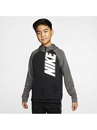 Nike Jungen B NK Dry Fleece FZ GFX Sweatshirt, Black/Iron Grey/(White), L