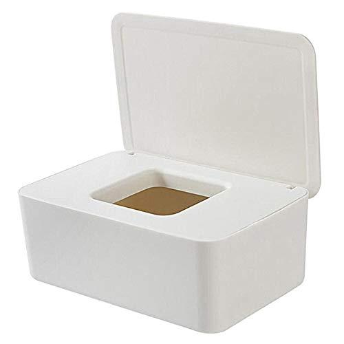 DGHSB Caja de pañuelos, Tejido Blanco/Negro Cajas a Prueba de Polvo Porta Papel Caja de Almacenamiento Caja de toallitas húmedas dispensador con Tapa for la Seguridad del Escritorio (Color : White)