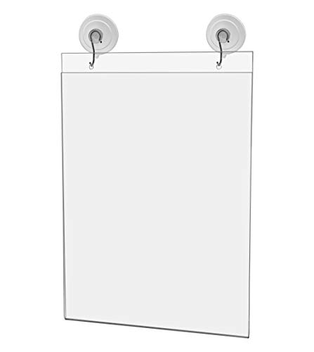 """Marketing Holders 8.5""""w x 11""""h Wall Mount Sleeve Pack of 2 with Suction Cups and Hanging Hooks Ad Frame Sign Holder Display Vertical Literature Holder Advertisement Notice Hours Warnings Flyer"""