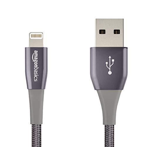Amazon Basics - Cable USB tipo A con conector Lightning, doble, de nailon trenzado, colección prémium, 10 cm - Gris oscuro