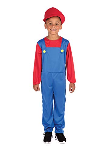Bristol Novelty CC290 Costume de plombier pour garçon Taille M Bleu/rouge 6-8 ans