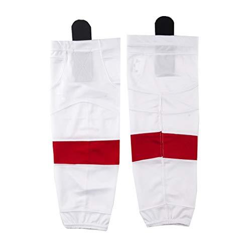 COLDINDOOR Weiße Eishockey-Socken für Jungen im Innen- und Außenbereich, Rot gestreift