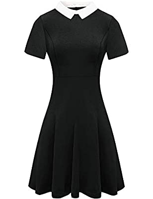 For G and PL Halloween Dress Womens Wednesday Addams Costume Party Pater Pan Collar Dresses Short Sleeve Black M