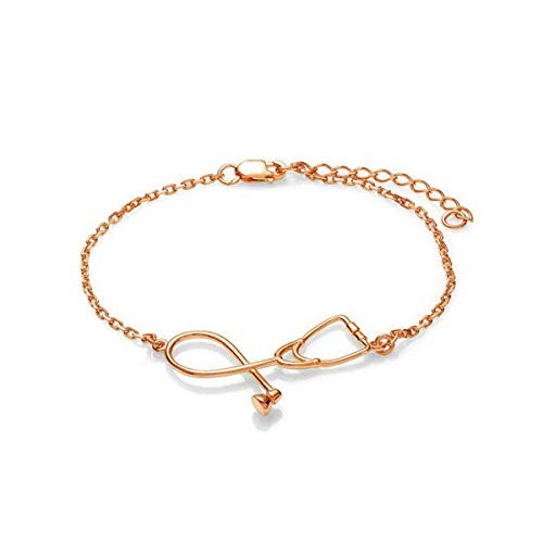 Brosco Student Korean Medical Gift Stethoscope Bracelet Jewelry Pendant Bracelet Good Charm Bracelets Cute Accessories Best | Color - Gold