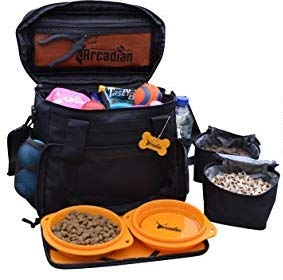 Arcadian Dog Camping & Travel Bag, Multiple Storage Compartments, Lined Food Carriers & Collapsible Bowls.