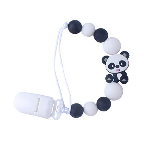 Chou Panda Dummy Clips Baby Schnuller Clip, nettes Baby Schnullerkette Silikon