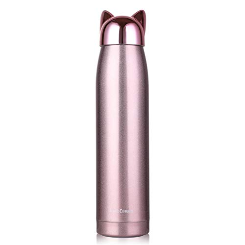 Cute Cat Thermoses,Stainless Steel Girls Travel Mug,Portable Leak-proof Insulated Water Bottle for Kids 320 Milliliter(Rose Animal Lid)
