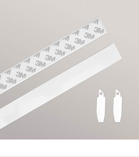 LYSEL Zubehör Set Rollo Seitenblenden zum Kleben oder Schrauben aus Aluminium - in weiß - B 2.50cm H 126cm