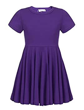 Arshiner Little Girls Short Sleeve A Line Casual Skater Dress 140 Age for 10-11Y  Purple