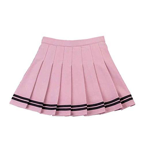 Inlefen Falda a Cuadros de Verano Estilo Harajuku de Las Mujeres Plisado Salvaje una Palabra Falda Cintura elástica Falda a Rayas Caramelo Mini Lindo Uniforme Escolar Falda Rosado-2XL
