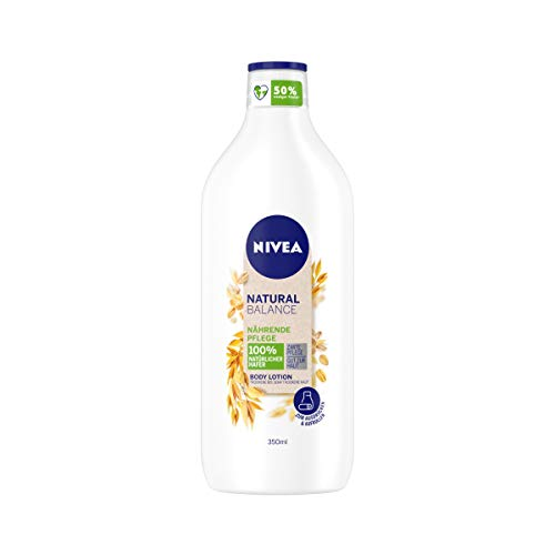 NIVEA Natural Balance Hafer Body Lotion (350 ml), Lotion mit 100 {a8cedf1973a688c6fdbf47f205e3be99e1ad0286d8a862cdceea204308566d1f} natürlichem Hafer, Körpercreme spendet 48h intensive Feuchtigkeit