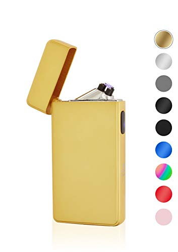 TESLA Lighter TESLA Lighter T13 Lichtbogen-Feuerzeug, elektronisches USB Feuerzeug, Double-Arc Lighter, wiederaufladbar, matt Gold Matt-gold