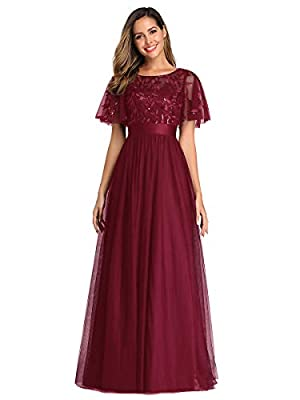 Ever-Pretty Women's A-Line Elegant Flare Sleeve Prom Gown Bridesmaid Dress Burgundy US12