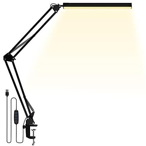 FOZHUATR Lampada da scrivania a LED 10W,Lampada da Tavolo con morsetto,3 modalità di colore,10 livelli di luminosità regolabili,protezione degli occhi,Lampada Pieghevole USB per ufficio,lettura,studio