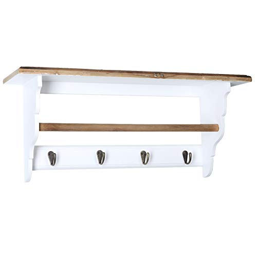 Wandgarderobe Weiß mit 4 Haken Garderobe Holz Retro Vintage Wandregal 60cm Kleiderstange Kleiderhaken Flurgarderobe Ablage