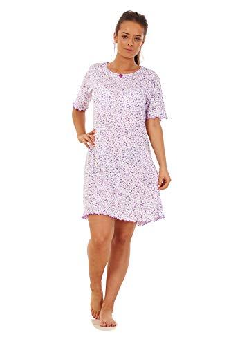 Apparel Ladies Girls Floral Short Nightdress 100 Cotton Short Sleeve Nightwear M to 3XL Lavender Black