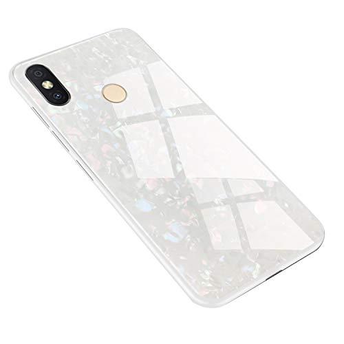 Hülle für XiaoMi Redmi S2 Hülle,Marmor Gehärtetem Glas und Silikon Rand Hybrid Hardcase Stoßfest Kratzfest Handyhülle Dünn Hülle Cover für XiaoMi Redmi S2 (Weiß)