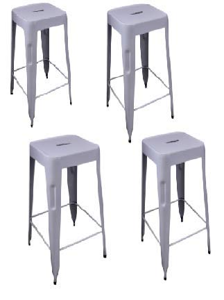 "AVYAN AARI FURNITURE - Premium Bar Stool (Set of 4) - 29"" White Metal Indoor/Outdoor Patio Furniture 