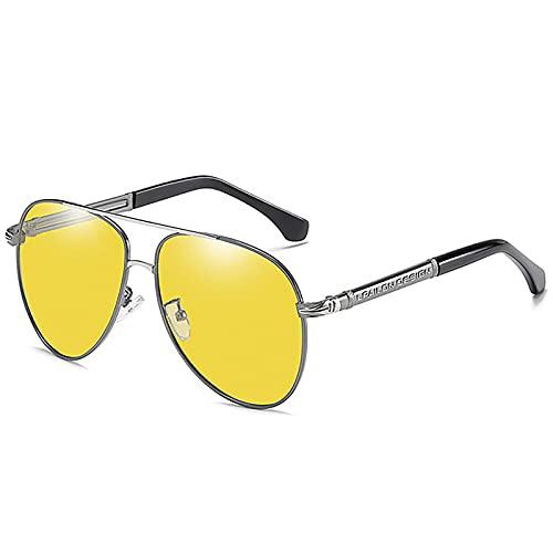 BEIAKE Gafas De Sol Visión Nocturna Polarizada para Adultos Gafas Gafas De Sol Adecuado para Ciclismo, Correr, Viajar, Playa, Drive Goggles,Plata