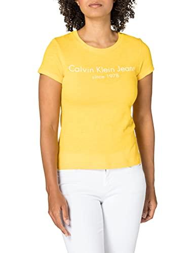 Calvin Klein CK Jeans Spectra Yellow Camiseta, Amarillo, S para Mujer