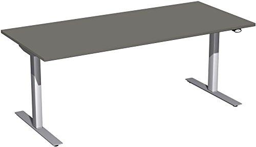 Elektrisch höhenverstellbarer Schreibtisch, 1800x800x680-1160, Graphit/Silber, Geramöbel