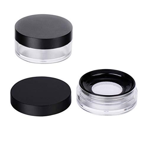 Lurrose 2pcs 10g poudre cas cas de maquillage élastique de réservoir de maille ronde (noir)