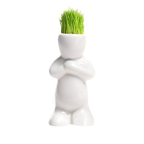 Mini Bonsai Head Grass Doll - Hair White Ceramic Plant Garden,Tree Blossom Doll Grass Pot,Used to Beautify Rooms,Gardens and Offices, Home - Indoor Plants White Planters Planter Desk Decor (A)