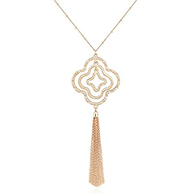 YOUMI Long Tassel Pendant Y Necklace Hollow Out Layered Rhombus Leaf Drop Necklace Lariat Chain Jewelry for Women