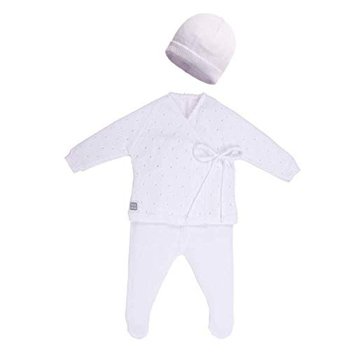 Minutus Primera Puesta bebé Conjunto Aire + Gorro, 100% Algodón (Blanco)