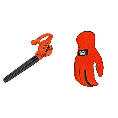 BLACK+DECKER Electric Leaf Blower, 7-Amp with Easy-Fit All Purpose Glove (LB700 & BD505L)