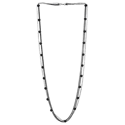 Plata Negro Statement Collar Plata Multi Capas Largo Cadena con Rhinestones Negro Plastico Perla Colgantes