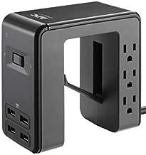 APC Desk Mount Power Station PE6U4, U-Shaped Surge Protector with USB Ports (4), Desk Clamp, 6 Outlet, 1080 Joules Black