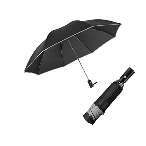 Lowest Prices! Automatic Folding Business Umbrella with Reflective Strips Mini Sun Umbrella Windproo...
