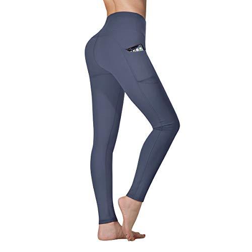 Vimbloom High Waist Leggings Damen Sport Fitness Yogahose Yoga Hose Sporthose Leggins Fitnesshose mit Taschen VI263(Grau Blau,L)