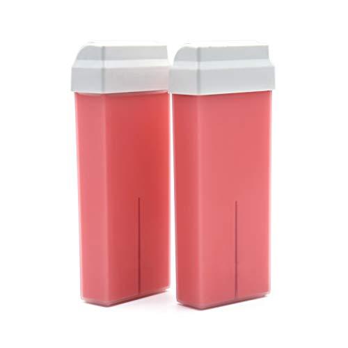 takestop Set 2 Pezzi Ricarica Cera DEPILATORIA LIPOSOLUBILE biossido Titanio Rosa 100 ml per Rullo SCALDARULLO DEPILAZIONE CERETTA