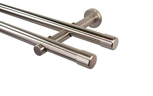 iso-design Gardinenstange 2-läufig 20 mm Farbe Edelstahl, Endstück Kappe, 280 cm (2 x 140 cm)