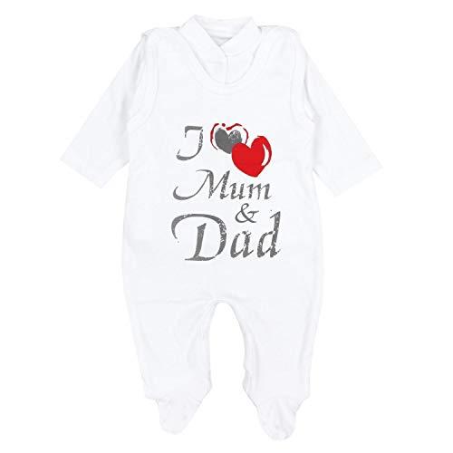 TupTam Baby Unisex Strampler-Set mit Aufdruck Spruch 2-TLG, Farbe: I Love Mum and Dad, Größe: 56