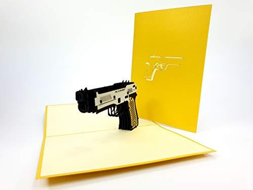 PopUp-Cards - Tarjetas de felicitación 3D con diseño de cazador de rifles y pistola, personalizables, para regalo de abuelo en 3D, Mafia Italia Gangsta raper Snoop Dog