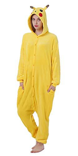 FunnyCos Einteiler für Erwachsene, Tier-Pyjama, Unisex, Halloween, Cosplay, Kostüm, Loungewear Gr. M(Höjd 158/167 cm), Pikachu
