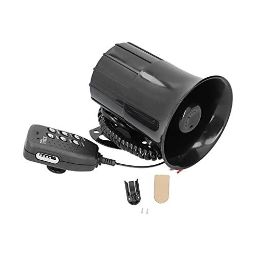 Akozon Megáfono de bocina de Alarma de Coche 50W 120dB Car Loud Horn 6 Sonidos Sirena de Alarma de Advertencia de Emergencia Universal para 12V Auto Car Firefighting