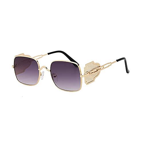JIYANANDPNTYJ Gafas De Sol Mujer Gafas de Sol de Metal Retro Forma Cuadrada Elegante (Lenses Color : Golden Grey)