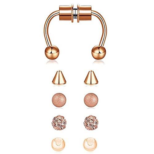 Paquete de anillos de nariz falsos en forma de herradura de acero inoxidable, anillo magnético para la nariz, accesorios ligeros, reutilizables, no perforantes, para la nariz