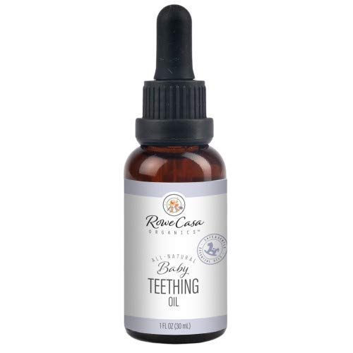 Rowe Casa Organics Baby Teething Oil   Natural Essential Oils for Teething Relief, Mouth Pain and Ulcers, and Painful Gums   Chamomile and Copaiba Blend