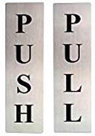 ZHENGTU Self Adhesive Stainless Steel Push & Pull Metal Door Signage Board Combo