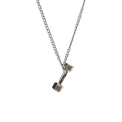 Alushisland Fashion Hip-Hop Fitness Dumbbell Necklace Men Domineering Barbell Pendant Korean Couple Sweater Chain