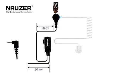 NAUZER Pin 39-SP1 Micro-Auricular Tubular Profesional con PTT Especial para ambientes ruidosos, Uso Militar, Seguridad o Industrial para Compatible con los Walkies Tetra - Tetrapol, Sepura